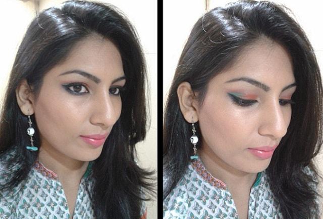 Orange And Blue Eye Makeup Look
