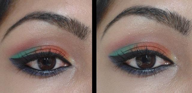 Orange and Blue Eye Makeup
