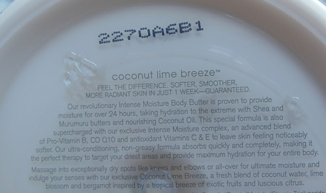 Bath and Body Works Coconut Lime Breeze Body Butter Claims