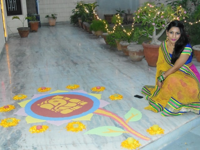 Diwali_Lehenga_Rangoli_Me 4