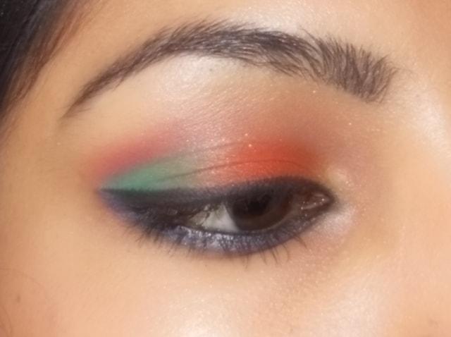 Eyes-O-Mania- Orange and Blue Eye Makeup