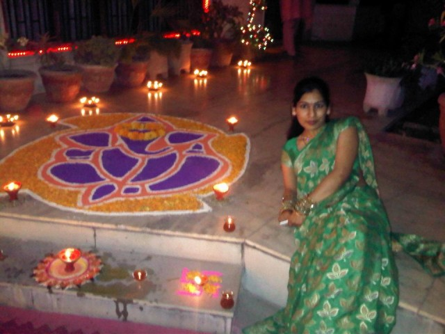 Me with My first Rangoli 1
