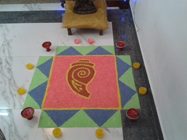 My third Rangoli @ Diwali 2013