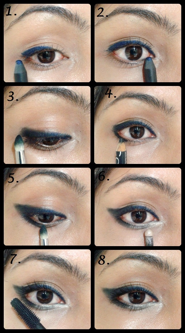 Eye Makeup Tutorial -Winged Smudged Black Blue Eye Liner