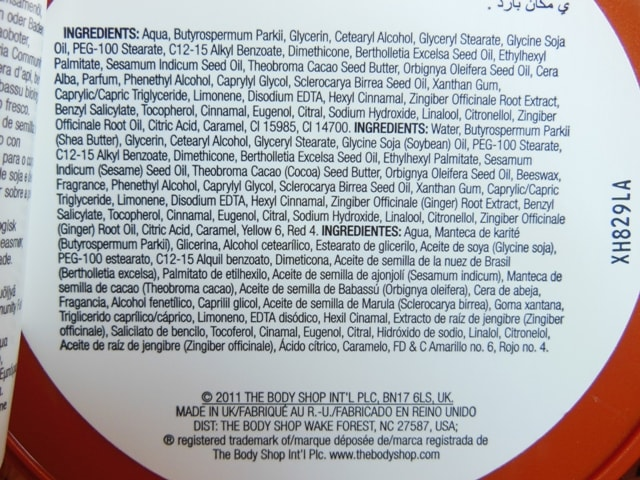The Body Shop Body Butter-Candid Ginger Ingredients