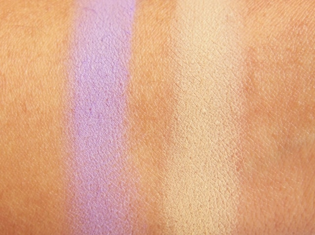 VIVO Matte Eye Shadow Purple Passion and SandStorm Swatch