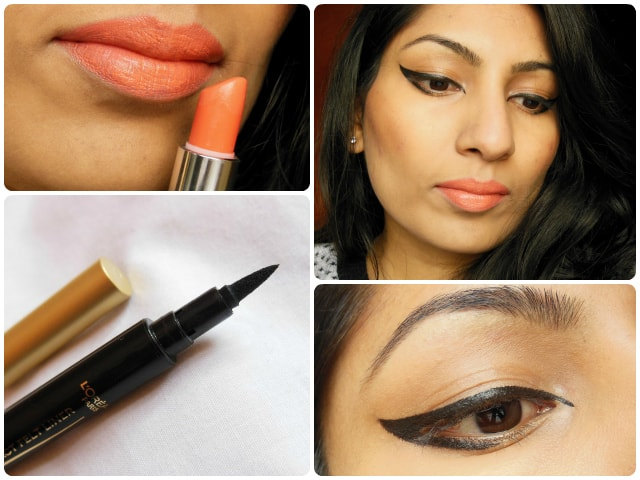 What Am I Wearing Today -Graphic Eye liner and Orange Lips