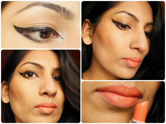 What Am I Wearing Today -Orange Lips and Graphic Eye Liner look
