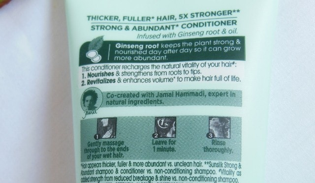 Sunsilk Natural Recharge Strong & Abundant Conditioner Claims