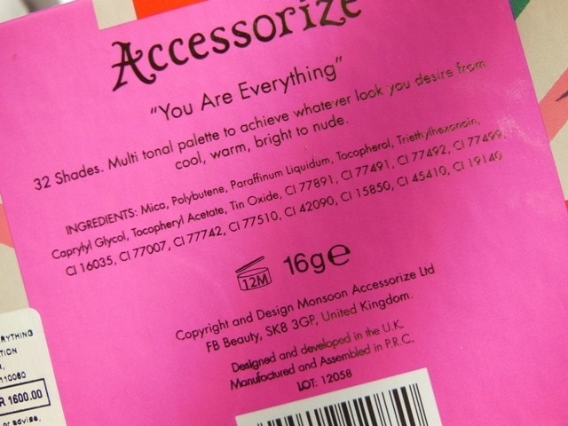 Accessorize You Are Everything Eye Shadow Palette Ingredients