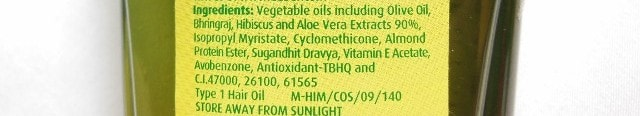 Dabur Vatika Enriched Olive Hair Oil Ingredients