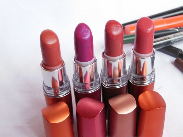 Blog Sale - Maybelline Color Sensational Moisture Extreme Lipsticks - Bronze Orange, Iced Orchid, Buff, Coral Pink