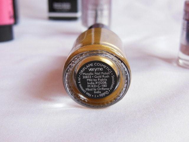 Oriflame very Me Metallic Nail Paint - Gold Rush Review