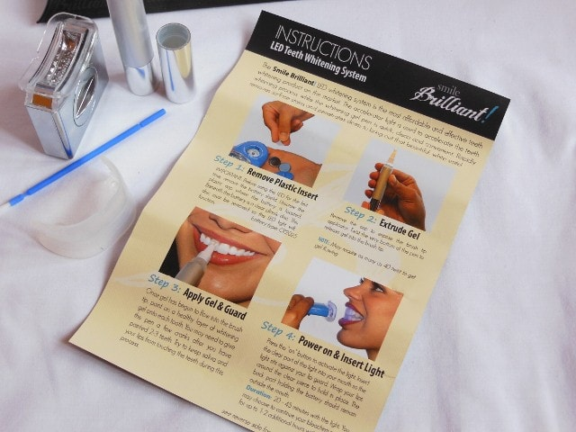 SMILE Brilliant LED Teeth Whitening System- Instructions