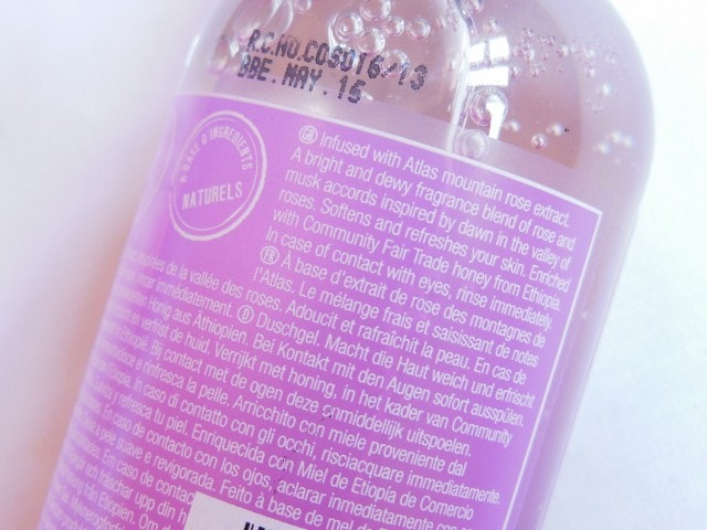 The Body Shop Atlas Mountain Rose Shower Gel Claims