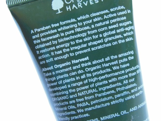 Organic Harvest 3 in 1 Insta Fresh Face Wash Claims