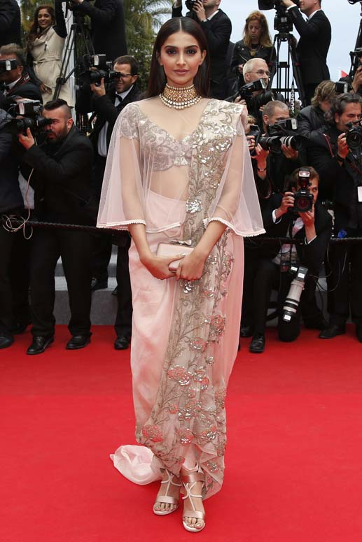 Sonam Kapoor at Cannes 2014 in Anamika Khanna Saree