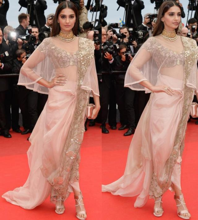 Sonam Kapoor at Cannes Film Festival 2014 in Anamika Khanna Saree
