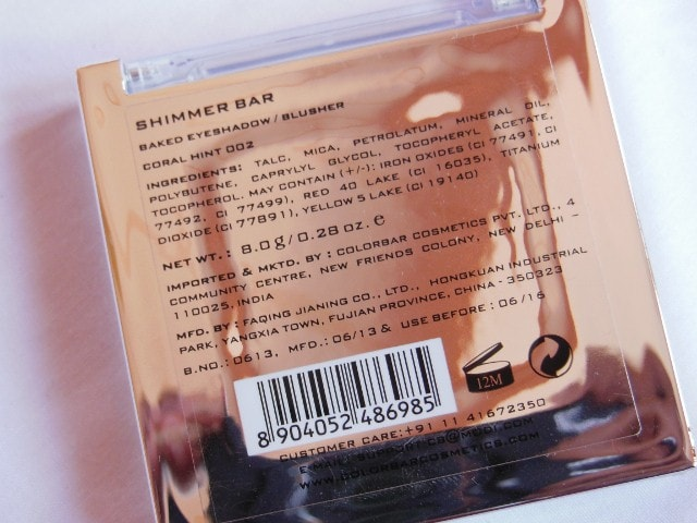 Colorbar Shimmer Bar Coral Hint 002  Ingredients