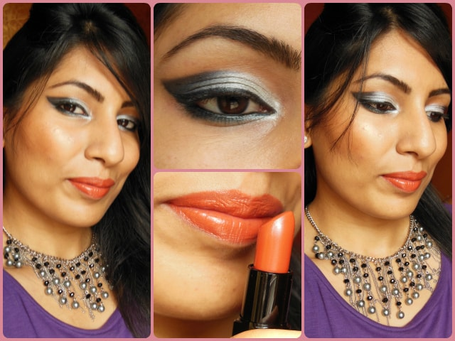 Makeup Look -Smokey Gray Eyes and Orange lips