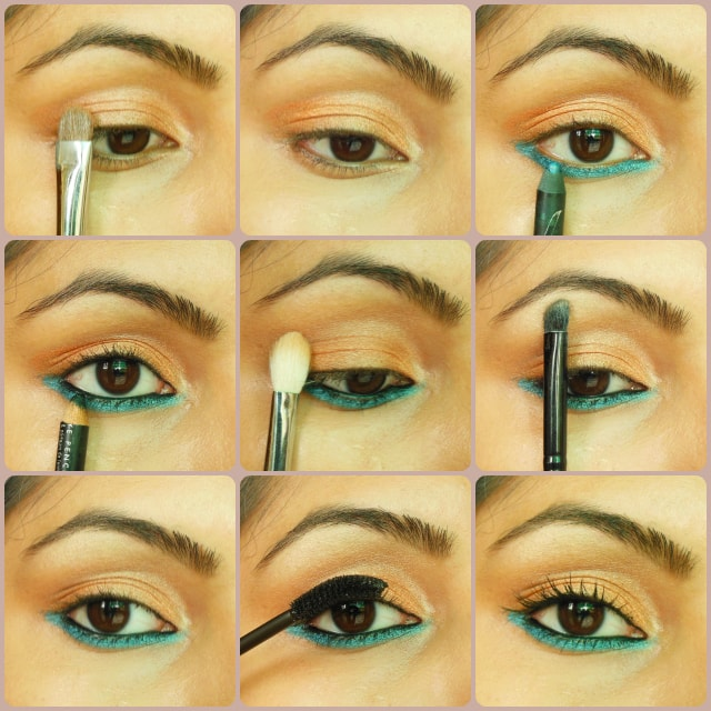 Step By Step Eye Makeup Tutorial - Orange and Blue Eyes