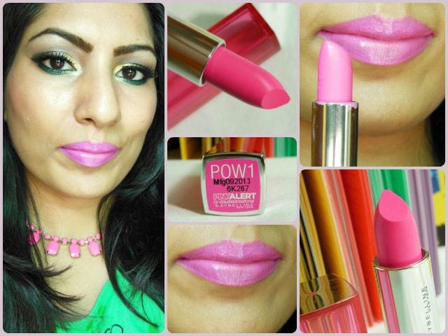 Maybelline ColorSensational Pink Alert Pow1 Lipstick LOTD