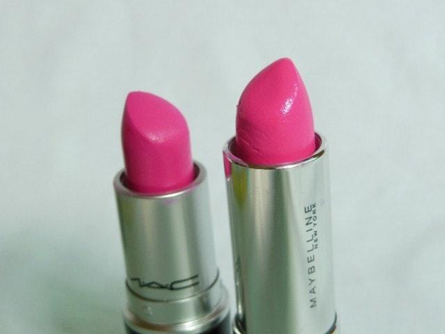 Maybelline Pink Alert Pow1 Lipstick - MAC Candy Yum Yum Lipstick Dupe