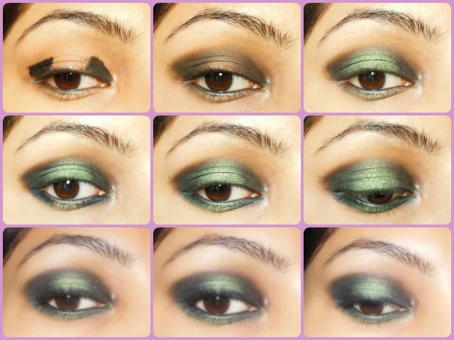 Step By Step Eye Makeup Tutorial - Black and Green