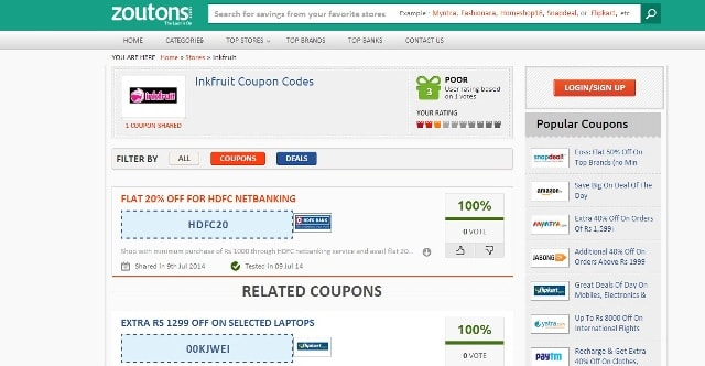 Zoutons.com HDFC Coupon,