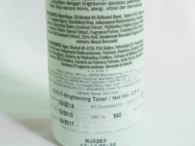 Jafra Brightening facial Toner Ingredients