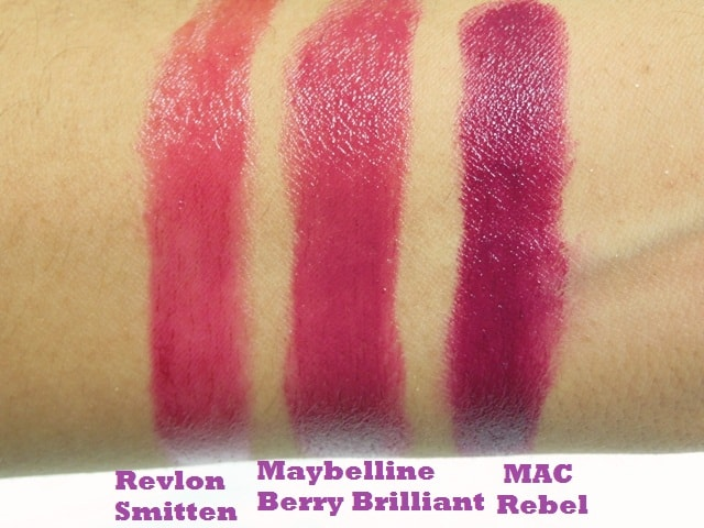 Dupe Discovered - MAC Rebel, Maybelline Berry Brilliant and Revlon Smitten Lipstick Swatch