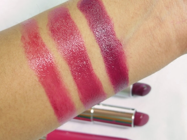 Dupe Discovered - MAC Satin Rebel, Maybelline Berry Brilliant and Revlon Smitten Lipstick Swatches