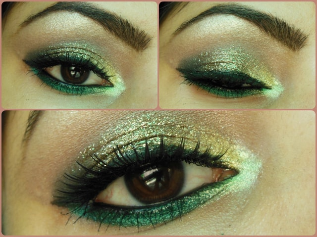Eye Makeup Glitter Gold and Greens Tutorial