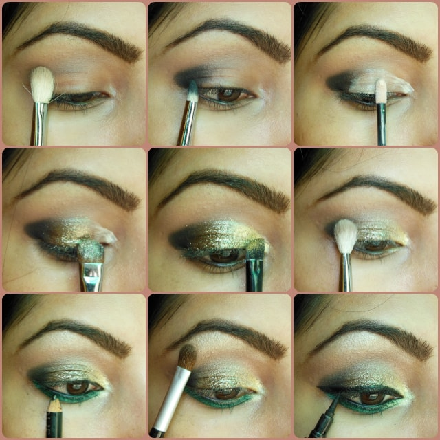 Eye Makeup Tutorial Look - Glitter Gold and Greens
