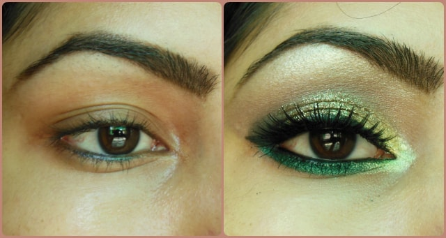 Glitter Gold and Greens Eye Makeup Tutorial