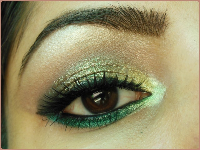 Glitter Gold and Greens Eye makeup