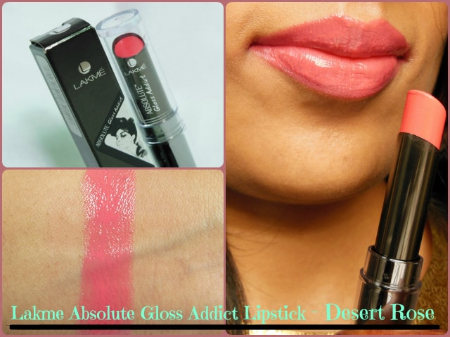 Lakme Absolute Gloss Addict Lipstick Desert Rose Look