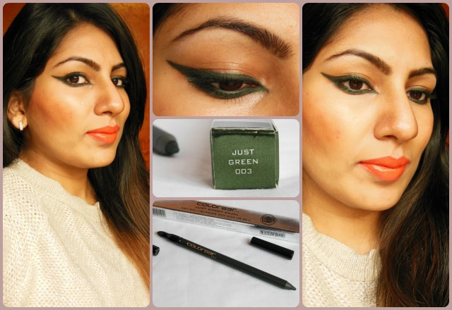 Colorbar Just Smoky Kajal Just Green 003 Eye Swatch
