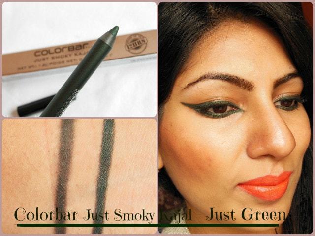 Colorbar Just Smoky Kajal Just Green Look