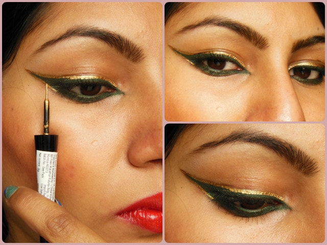 Maybelline HyperGlossy Electric Liquid Eye Liner Gold-iation EOTD