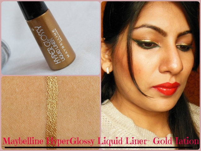 Maybelline HyperGlossy Gold Liquid Eye Liner Look