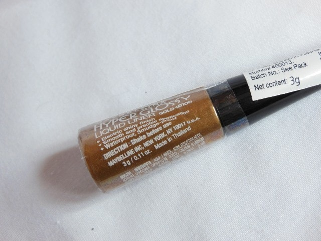 Maybelline HyperGlossy Gold Liquid Liner Claims