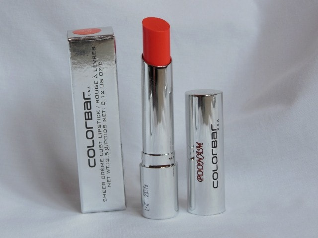 Colorbar Sheer Creme Lipstick Orange Bliss Review