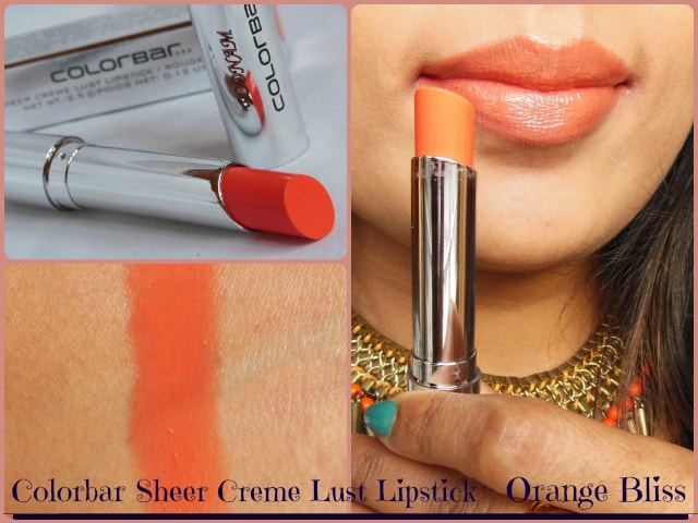 Colorbar Sheer Creme Lust Lipstick Orange Bliss 09 Look