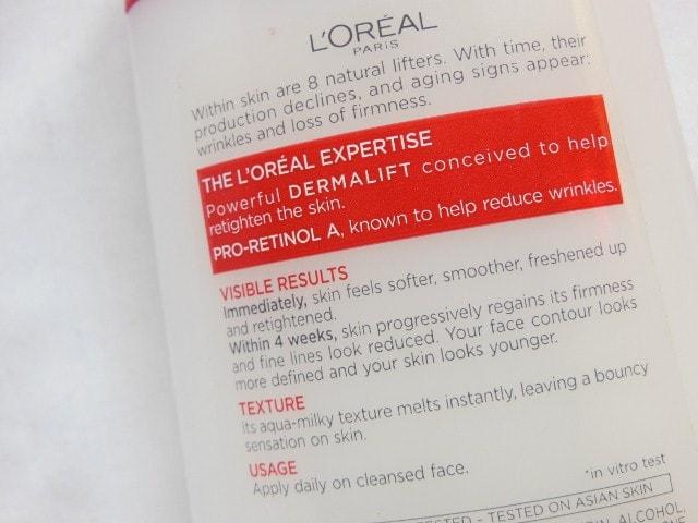 L'Oreal Paris Revitalift Anti - Ageing + Firming  Aqua Milky Toner Claims