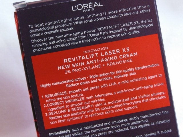 L'Oreal Paris Revitalift Laser X3 Anti Ageing Cream Claims
