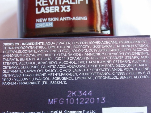 L'Oreal Paris Revitalift Laser X3 Anti Ageing Cream Ingredients