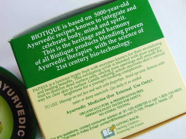 Biotique Bio Papaya Revitalizing Tan removal Scrub Claims