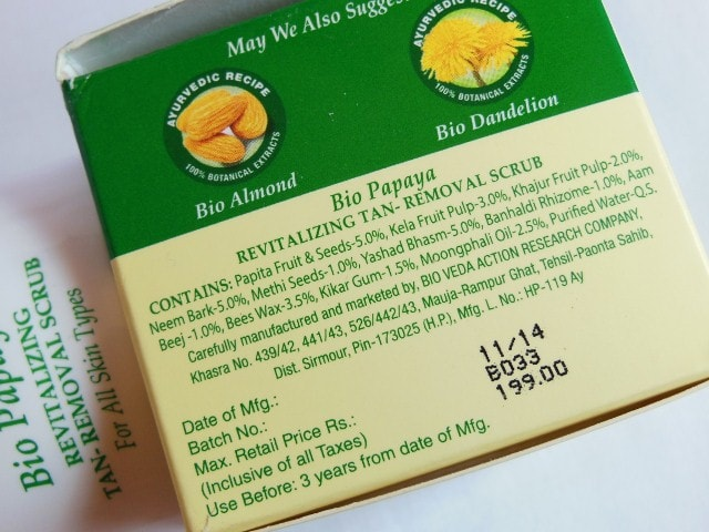 Biotique Bio Papaya Revitalizing Tan removal Scrub Ingredients