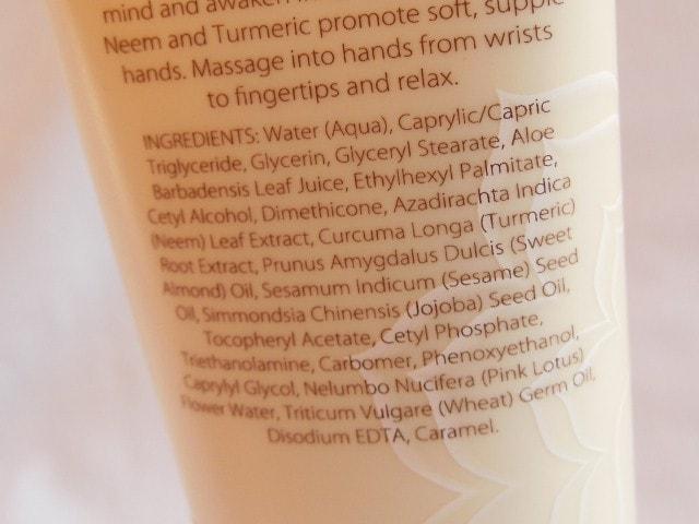 Natio Meditate Hand Cream Pink Lotus Ingredients